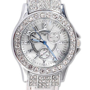 Crystal Fashion Ladies Lady Women Rhinestone White Leather Quartz Wrist Watch