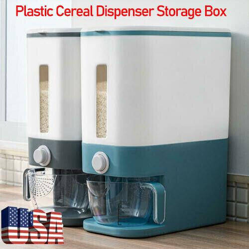 Plastic Cereal Dispenser Storage Box Kitchen Home Food Grain Rice Container