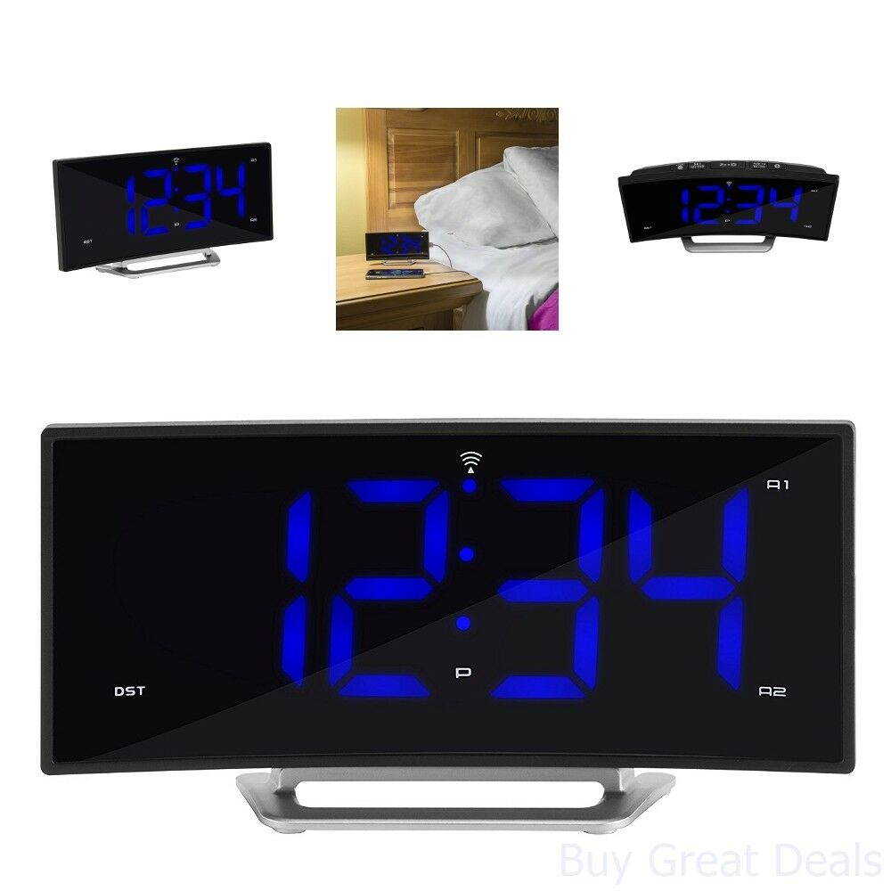 617-249 La Crosse Technology Atomic Curved LED Alarm Clock with Charging Port