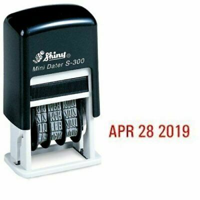 Shiny Self-inking Rubber Date Stamp S-300 Mini Line Dater Red Ink