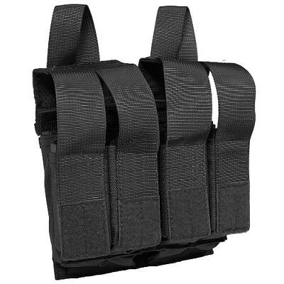 Flyye Tactical Double Range + Quad Pistol Mag Pouch MOLLE System Black