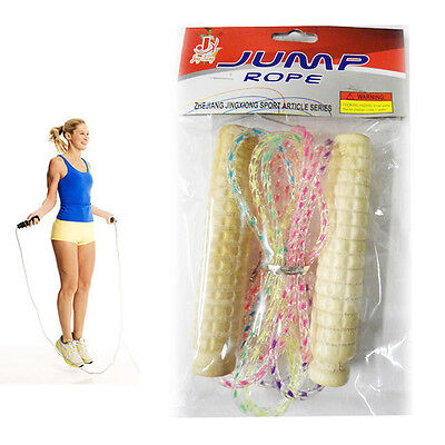 Children's Skipping Rope Wooden Handle Plastic Rope Exercise Jumping Outdoor NEW
