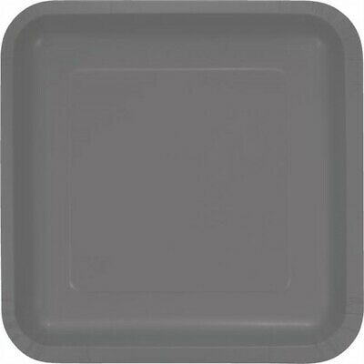 Glamour Gray 9 Inch Square Deep Dish Paper Plates 18 Pack Birthday Party Decor - Gray Paper Plates