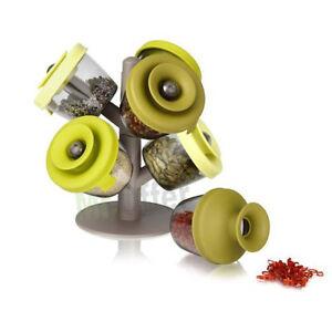 Portaspezie da cucina set di 6 contenitori per casa espositore porta aromi ebay - Aromi da cucina ...