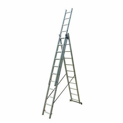 Escalera profesional multiusos triple y extensible 3 x 9 peldaños de aluminio