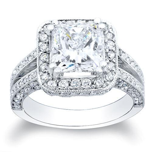 3.10 Ct. Princess Cut Pave Diamond Halo Engagement Ring E,VS1 GIA 18K White Gold
