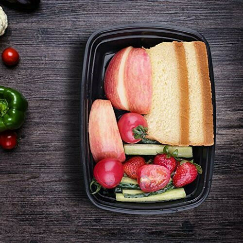 50 Pack Meal Prep Containers Reusable Food Storage Disposable Plastic Lunch Box