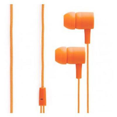 Orange Flat Wire Tangle Free Ear Buds with Mic Volume Control for sale  Shipping to India