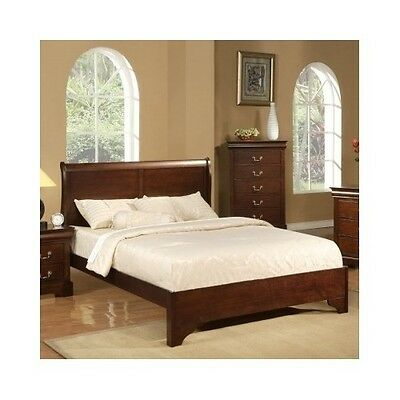 Queen Sleigh Bed Frame Wood Headboard Solid ...