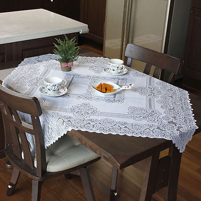 NEW Vintage Home Wedding Party White Lace Tablecloth Table Cover 105 x 98Cm