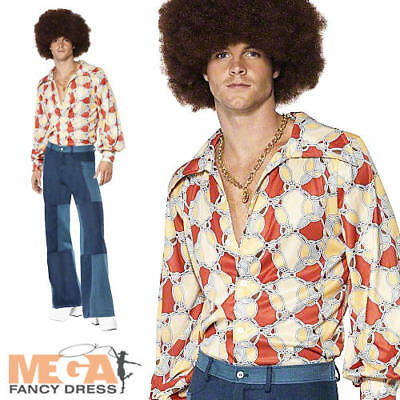 1970s Disco Flares + Shirt Fancy Dress Mens 70s Costume Adult Seventies Outfit - Seventies Outfit