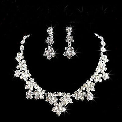 UK Wedding Bridal Prom Rhinestone Crystal Necklace Earrings Plated Jewellry Set