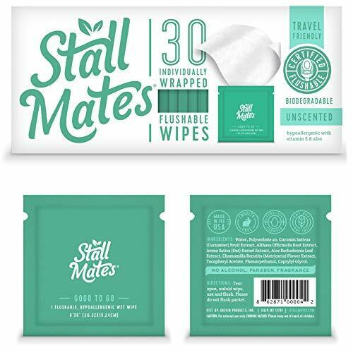 Stall Mates: Flushable,individually wrapped wipes for travel Unscented =30 Wipes