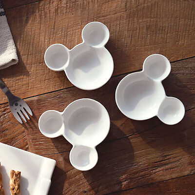 Mini Ceramic Mickey Sauce Bowls, Ketchup Candy Nuts Snack Olive Dish, Set of 3