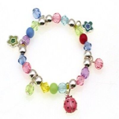 Childrens Multi-Color Beaded Stretch Bracelet W Ladybug and Flower Charms