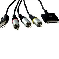 Black USB Composite AV Video Cable for Apple Iphone/Ipad 30 pin