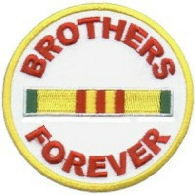 BROTHERS FOREVER GOLD USA MILITARY VETERAN EMBROIDERED BIKER PATCH