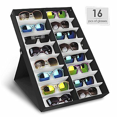 Sunglasses Case Display Rack Holder Stand Organizer Storage 16 Eyewear Tray Box