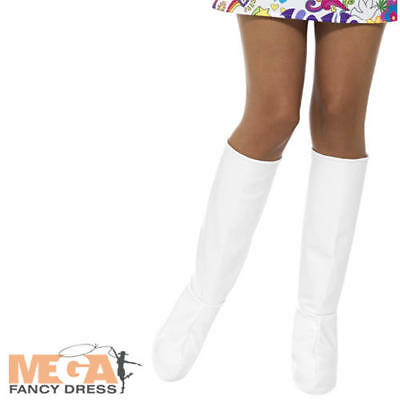 White Go Go Boots 1960s 1970s Ladies Fancy Dress Retro Womens Costume Accessory - 1970 Go Go Boots
