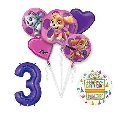 PAW PATROL SKYE & EVEREST 3rd Birthday Party Balloons Suppli