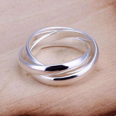 Damen Mode versilbert dreifach Kreis Ehering Schmuck US Größe 6-9 Herausragend (Damen-mode Ringe Größe 9)