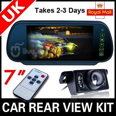 "CAR REAR VIEW KIT 7"" LCD MIRROR MONITOR + IR NIGHT VISION REVERSING CAMERA 6LED"