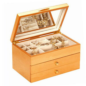 EMILIA WOODEN JEWELLERY BOX WITH 2 DRAWERS BEECH WOOD FINISH BY MELE & CO.1401