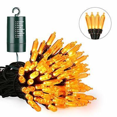 Joomer Orange Halloween Lights 33ft 100 LED Battery Operated Halloween String...