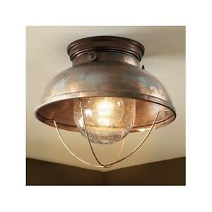 Rustic Outdoor Look Ceiling Light Fixture Weathered Copper