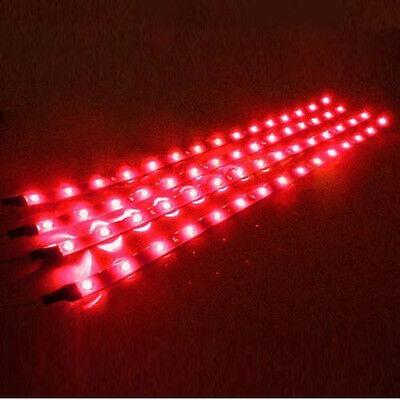 Car Parts - 8X Red 30CM/15 LED Car Boat Motor Bike Decor Flexible Light Strip Waterproof 12V