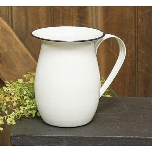 New Farmhouse Primitive Shabby Vintage Style WHITE ENAMEL PITCHER Vase Pot