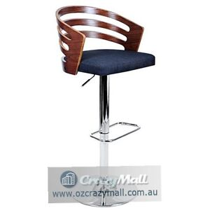 Fabric Seat Wooden Bar Stool with Gas Lift Melbourne CBD Melbourne City Preview