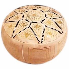 beige MOROCCAN LEATHER POUFFE HAND MADE FAIR TRADE BEST PRICE 100% GENUINE BRAND NEW