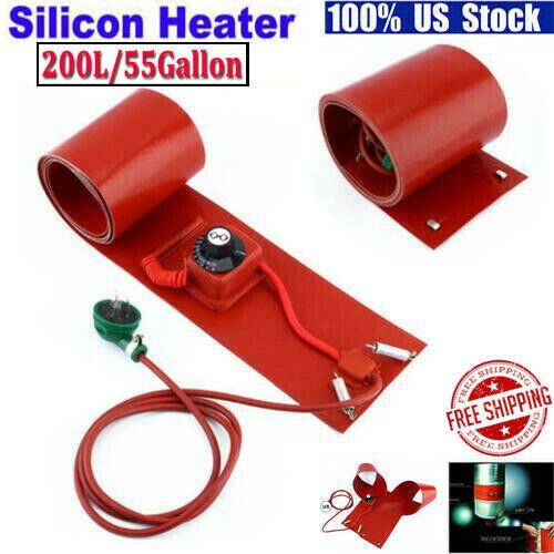 200L / 55Gallon 1000W Silicone Band Drum Heater Metal Oil Biodiesel Barrel Heat