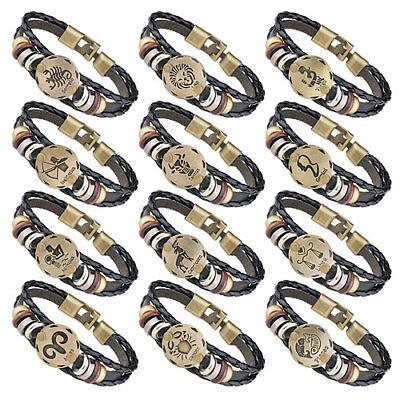 Stylisches Armband Surferarmband Leder geflochten Sternzeichen Horoskop Charms