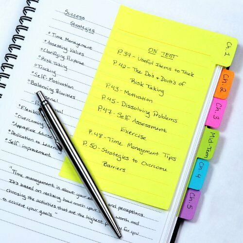 Redi-Tag Divider Sticky Notes, Tabbed Self-Stick Lined Note Pad, 60 Ruled Notes