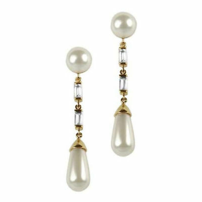 (925 Sterling Silver Marilyn Monroe inspired Baguette Pearl Dangle Party Earrings)
