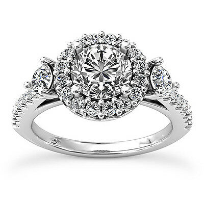1 CT ROUND CUT DIAMOND ENGAGEMENT RING ENHANCED SI/D 14k WHITE GOLD