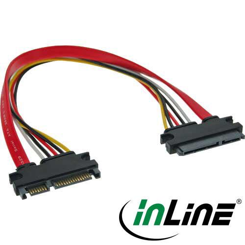 InLine SATA + Strom - Verlängerung, SATA 6Gb/s + Strom, Stecker / Buchse, 50cm