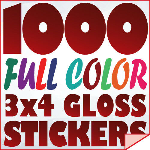 1000 Full Color Custom 3x4 STICKERS on 70Lb Label Printing with UV Gloss