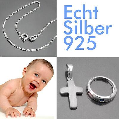Jungen Baby Taufe Taufring Safir blau und Kreuz Anhänger mit Kette Silber 925