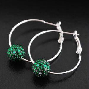 Green-Silver-Tone-Shamballa-Style-Bead-1-Row-Hoop-Earrings-4cm-NEW