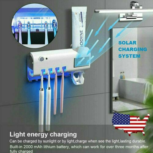 UV Light Sterilizer Toothbrush Holder Cleaner Automatic Toothpaste Dispenser US