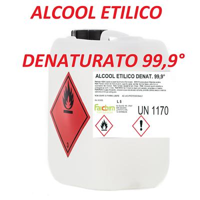Alcool Etilico Denaturato Etanolo 999% 5 Litri Disinfettante Sanificante Puro