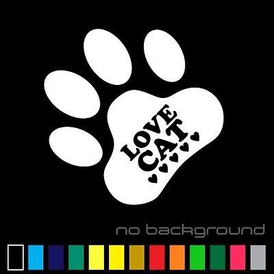 Love Cat Sticker Vinyl Decal - Kitty Paw Cute Pet Animal Meow Car Window Bumper