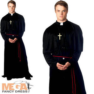 Holy-er Than Thou Priest Vicar Mens Fancy Dress Halloween Costume Adult Outfit
