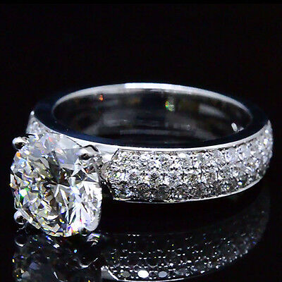 1.86 Ct. Natural Round Cut 3-Row Pave Diamond Engagement Ring - GIA Certified
