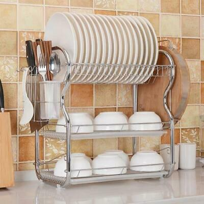 Dish Rack 3-Tier Stainless Steel Bowl Shelf Organizer Nonslip Cutlery Holder