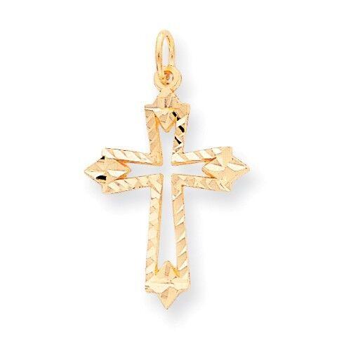 10k Yellow Gold Passion Cross w//Jesus Reversible Pendant