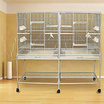 LARGE Double Flight Wrought Iron Bird Cage Cockatiel Ferret Sugar Glider0439-555